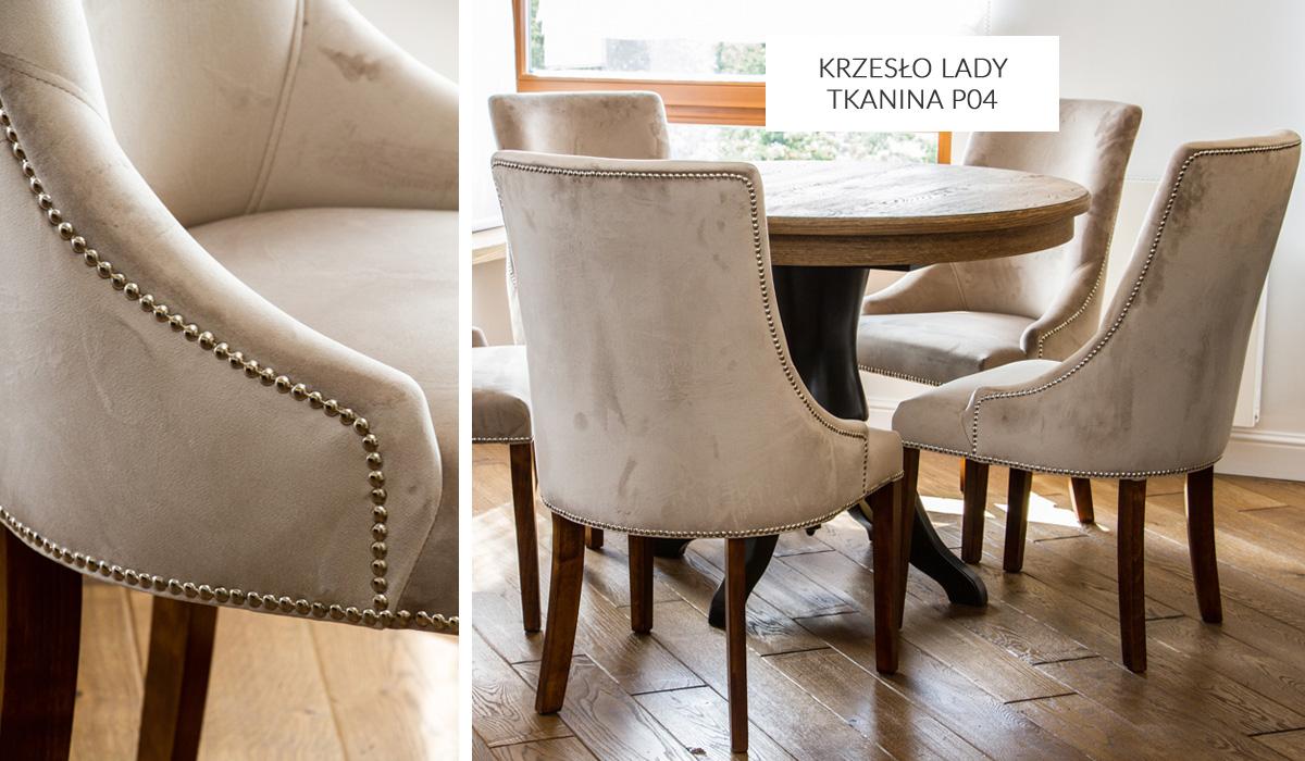 Krzesło tapicerowane welurem Lady w stylu nowojorskim. Możliwość wyboru koloru tkanin i nóżek, wyposażenia krzesła w kołatkę i pinezki dekoracyjne.