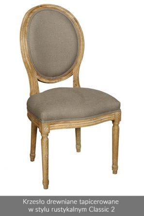 Krzesło drewniane tapicerowane w stylu rustykalnym Classic 2
