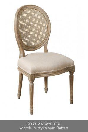 Krzesło drewniane w stylu rustykalnym Rattan