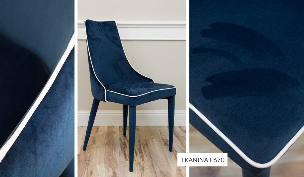 Tkanina obiciowa welur plusz French Velvet o szer. 140 cm. Krzesło tapicerowane kolor 670