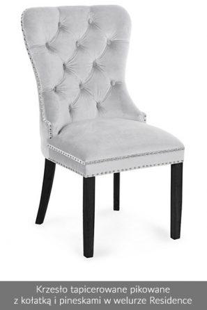 Krzesło tapicerowane pikowane z kołatką welur Residence