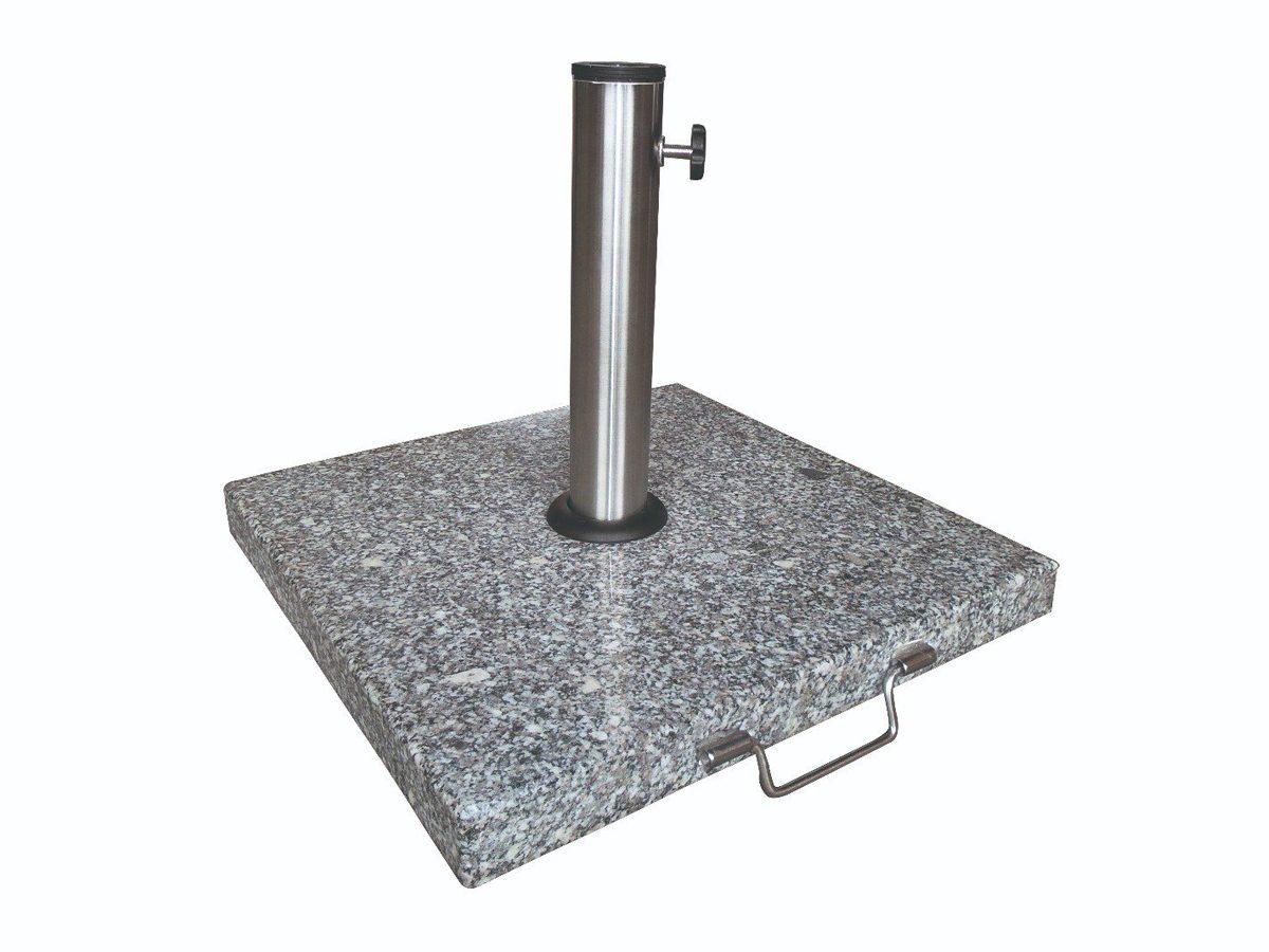 Kwadratowa podstawa do parasola ogrodowego wykonana z jasnego granitu.Baza parasola posiada metalowy uchwyt i jest osadzona na solidnych kółkach.