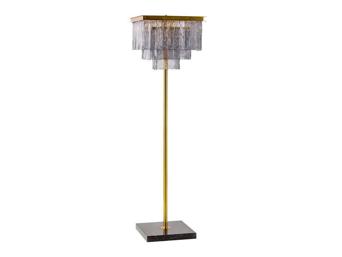 Lampa stojąca z kryształkami Leonard to idealne oświetlenie podłogowe do salonu, holu, restauracji, hotelu. Złota lampa podłogowa z kryształkami.