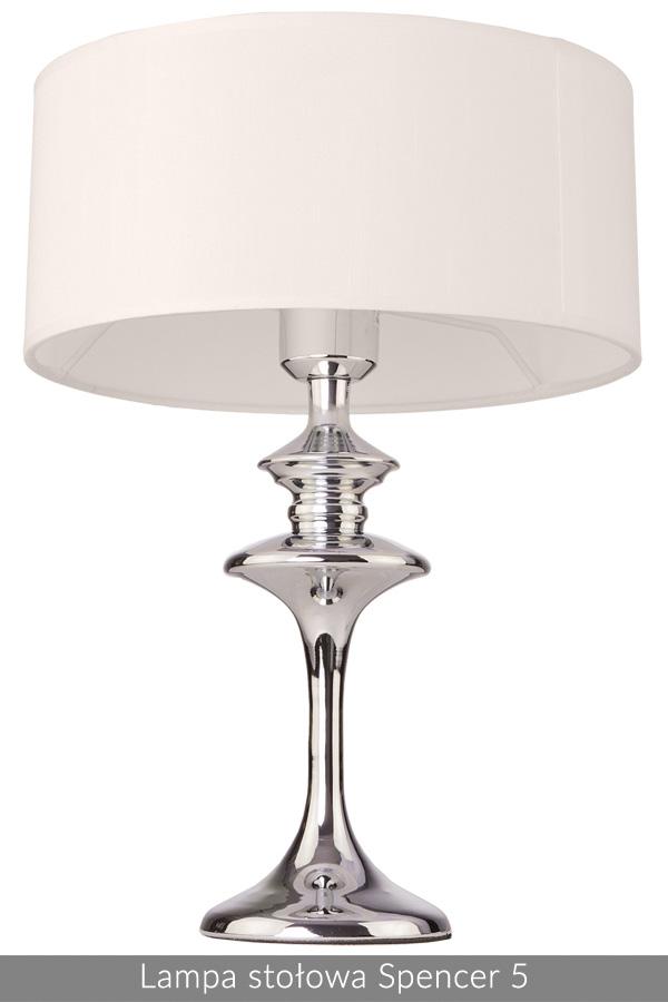 Lampa stołowa w stylu Nowojorskim Spencer 5 biały chrom
