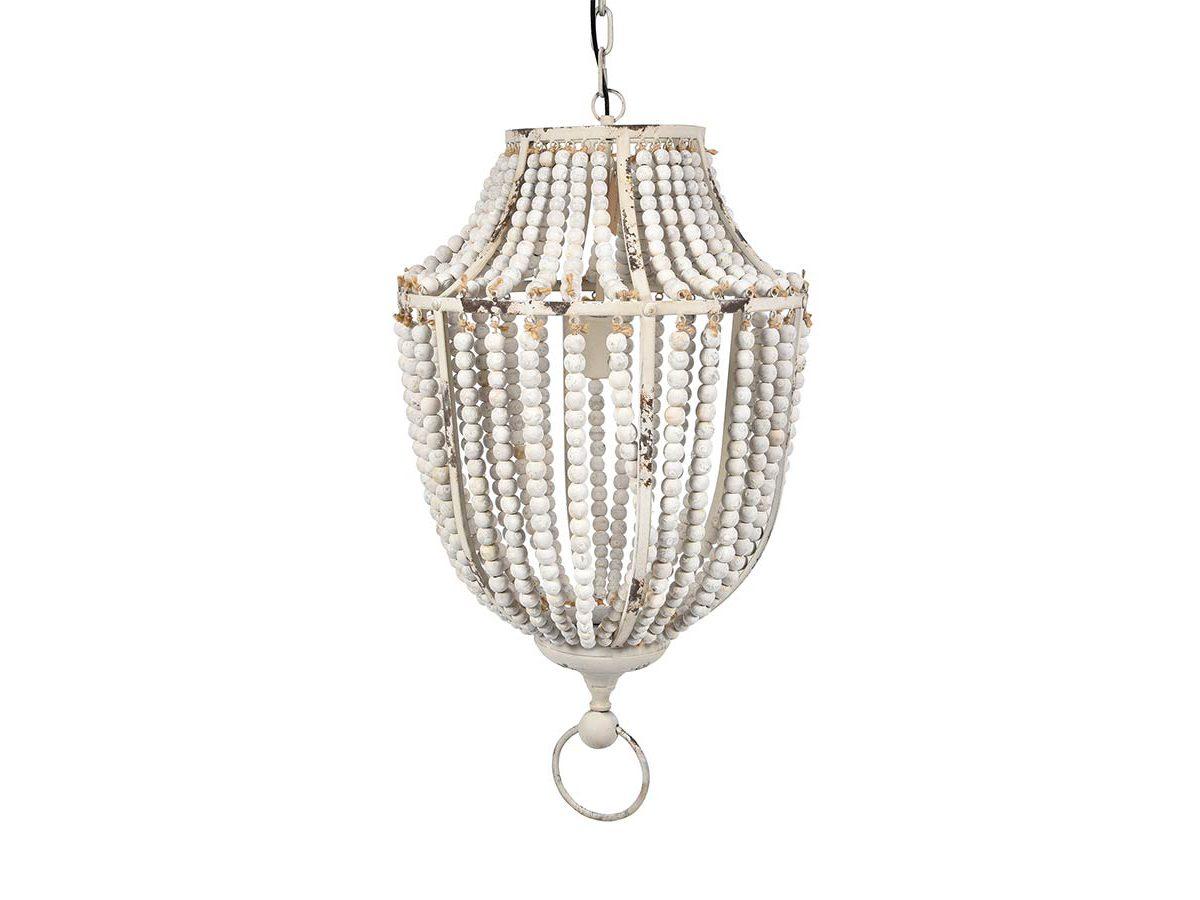 Lampa z koralików Vintage pasuje do salonu lub przedpokoju w stylu rustykalnym oraz klasycznym. Żyrandol z koralikami na zamówienie.