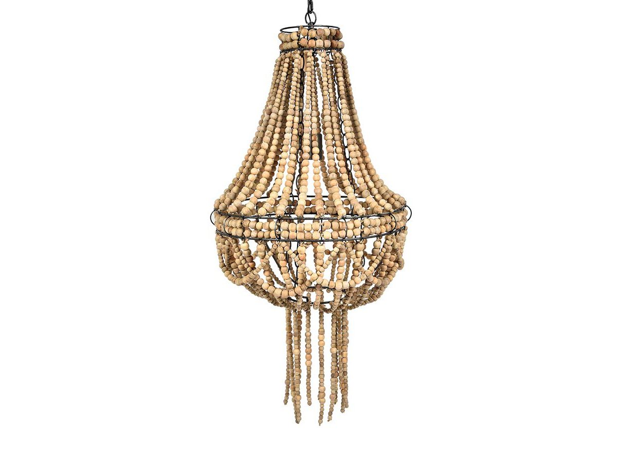 Żyrandol z koralikami Vintage 5 pasuje do salonu lub przedpokoju w stylu rustykalnym oraz klasycznym. Lampa z koralików na zamówienie.