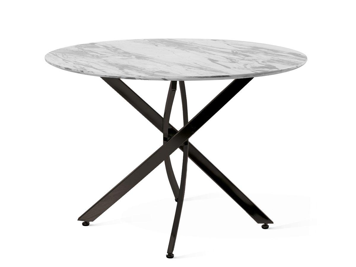 Okrągły stół z metalowymi nogami Mona. Blat z MDF do doskonała imitacja marmuru. Stół na 4 osoby Mona pasuje do jadalni w stylu nowoczesnym.