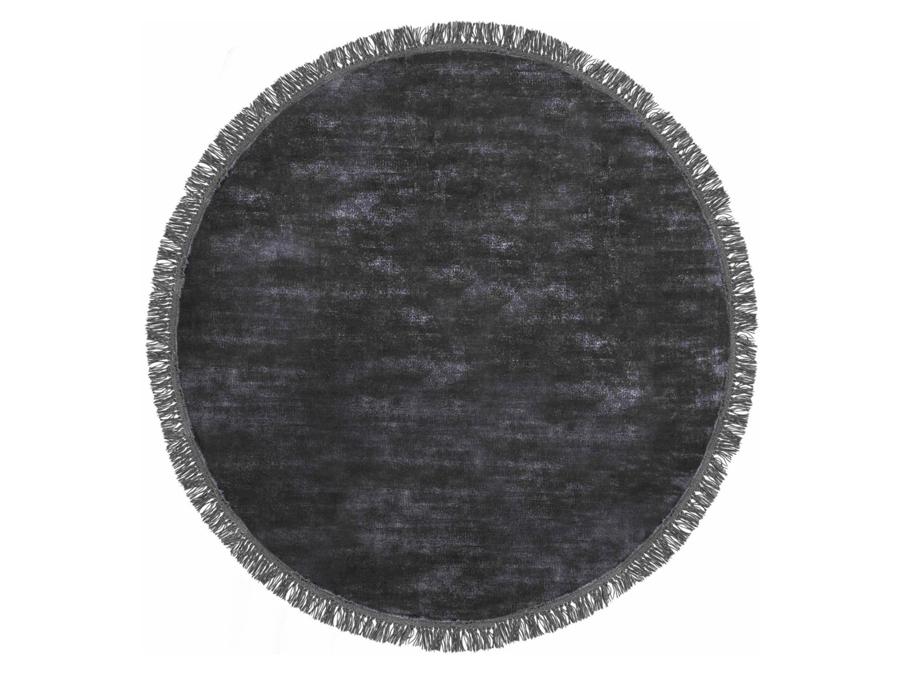 Dywan z wiskozy styl glamour ręcznie tkany Luna Midnight okrągły. Włókna wiskozy subtelnie połyskują, dzięki czemu dywan wygląda ekskluzywnie.