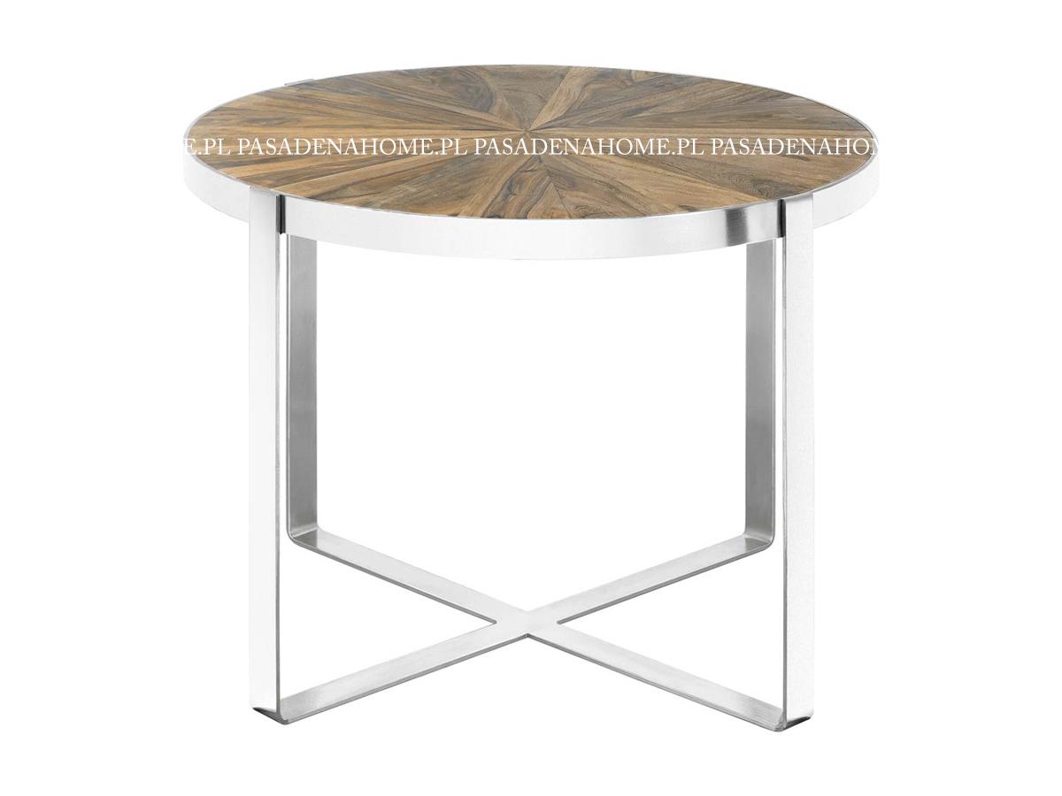 Stolik kawowy drewniany Muscat z okrągłym blatem i metalowym stelażem. Stolik pasuje do wnętrz w stylu nowoczesnym i nowojorskim.
