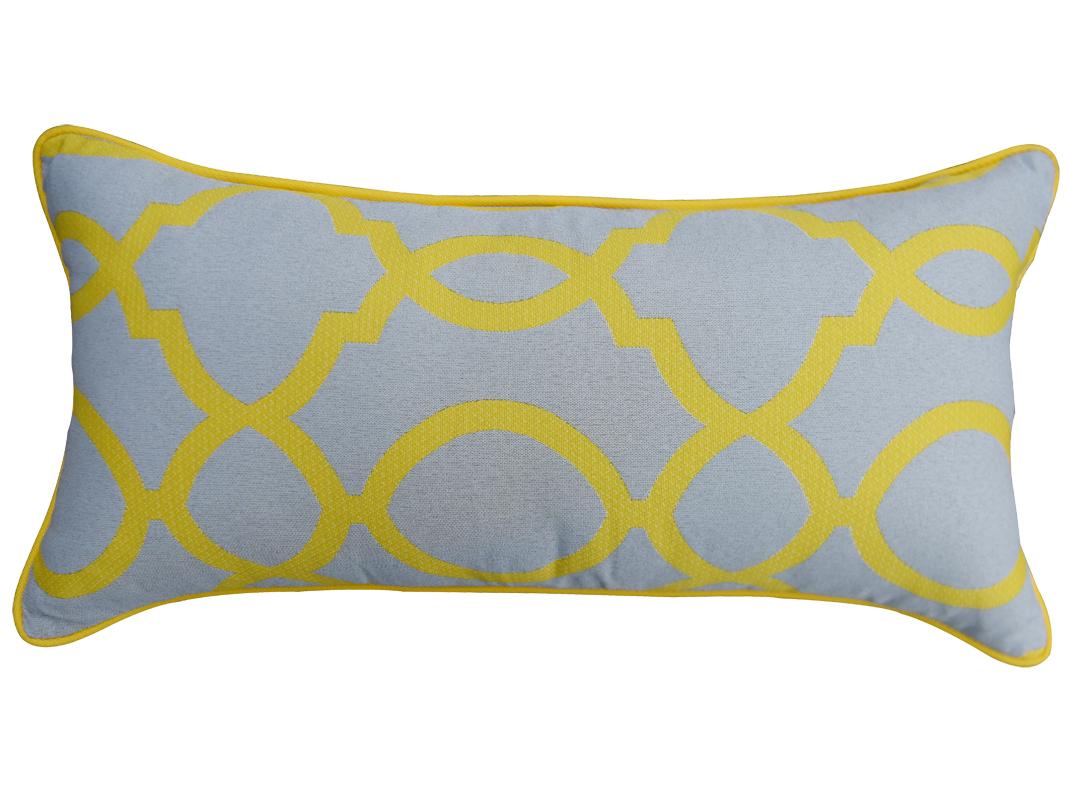 Poduszka ogrodowa 62x30 cm żółty ornament