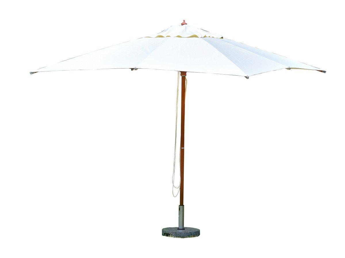 Parasol ogrodowy Matylda osadzony na drewnianej nodze z kamienną podstawą.Parasol do ogrodu i na taras będzie idealnym uzupełnieniem letniej aranżacji.