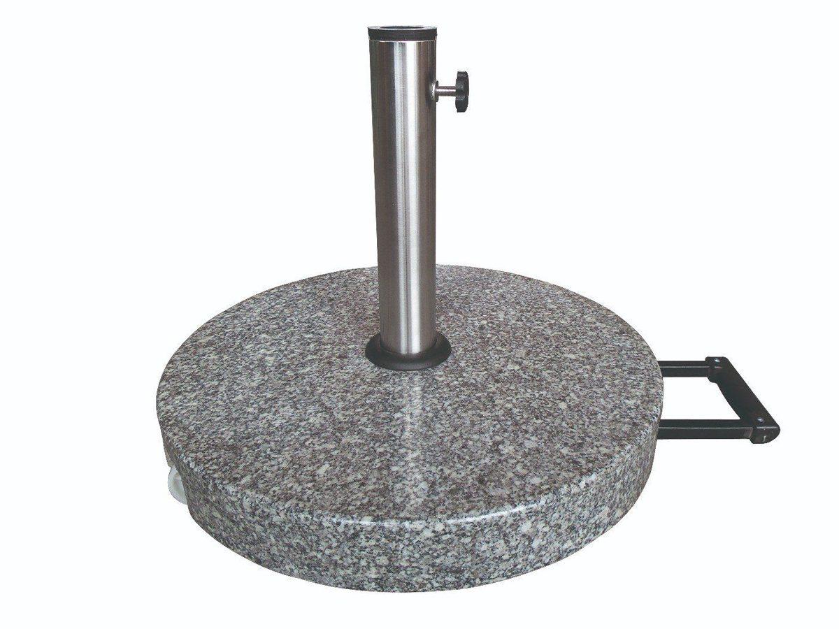 Okrągła podstawa do parasola ogrodowego wykonana z jasnego granitu.Baza parasola posiada metalowy uchwyt i jest osadzona na solidnych kółkach.