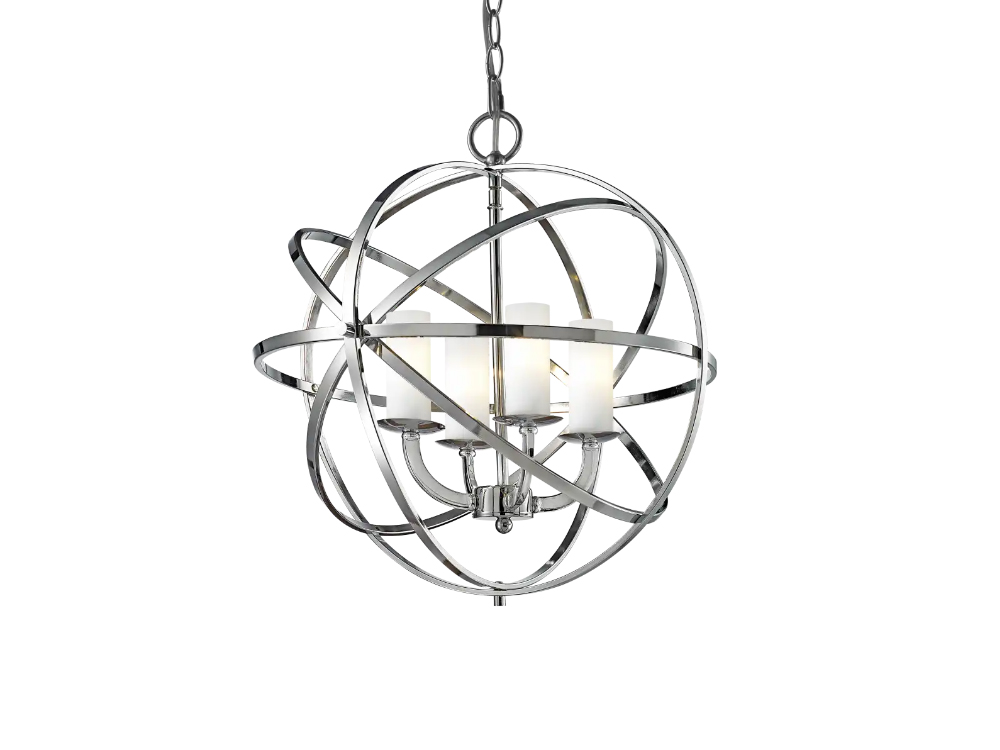 Lampa wisząca w stylu nowojorskim Wilson w kształcie kuli z metalowymi obręczami.