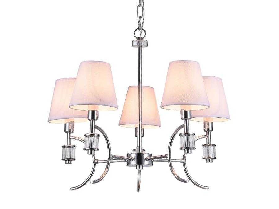 Lampa wisząca z abażurami Abbey. Żyrandol kryształowy Abbey znajdzie swoje zastosowanie jako lampa nad stół lub lampa do salonu.