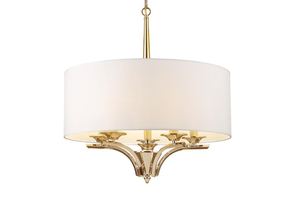 Lampa wisząca w stylu nowojorskim Abigail złota. Lampa sufitowa Abigail znajdzie swoje zastosowanie jako lampa nad stół lub lampa do salonu.