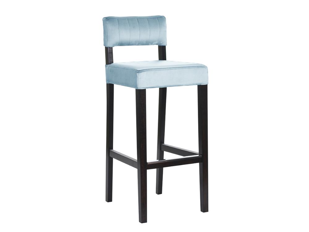 Krzesło barowe tapicerowane Vogue. Hoker niebieski do kuchni w stylu nowoczesnym i modern classic. Hokery na zamówienie Białystok.
