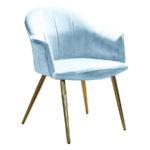Nowoczesne krzesło Isabell do jadalni i salonu. Krzesła ze złotymi nogami są dostępne na zamówienie w showroomie Pasadena home & deco.