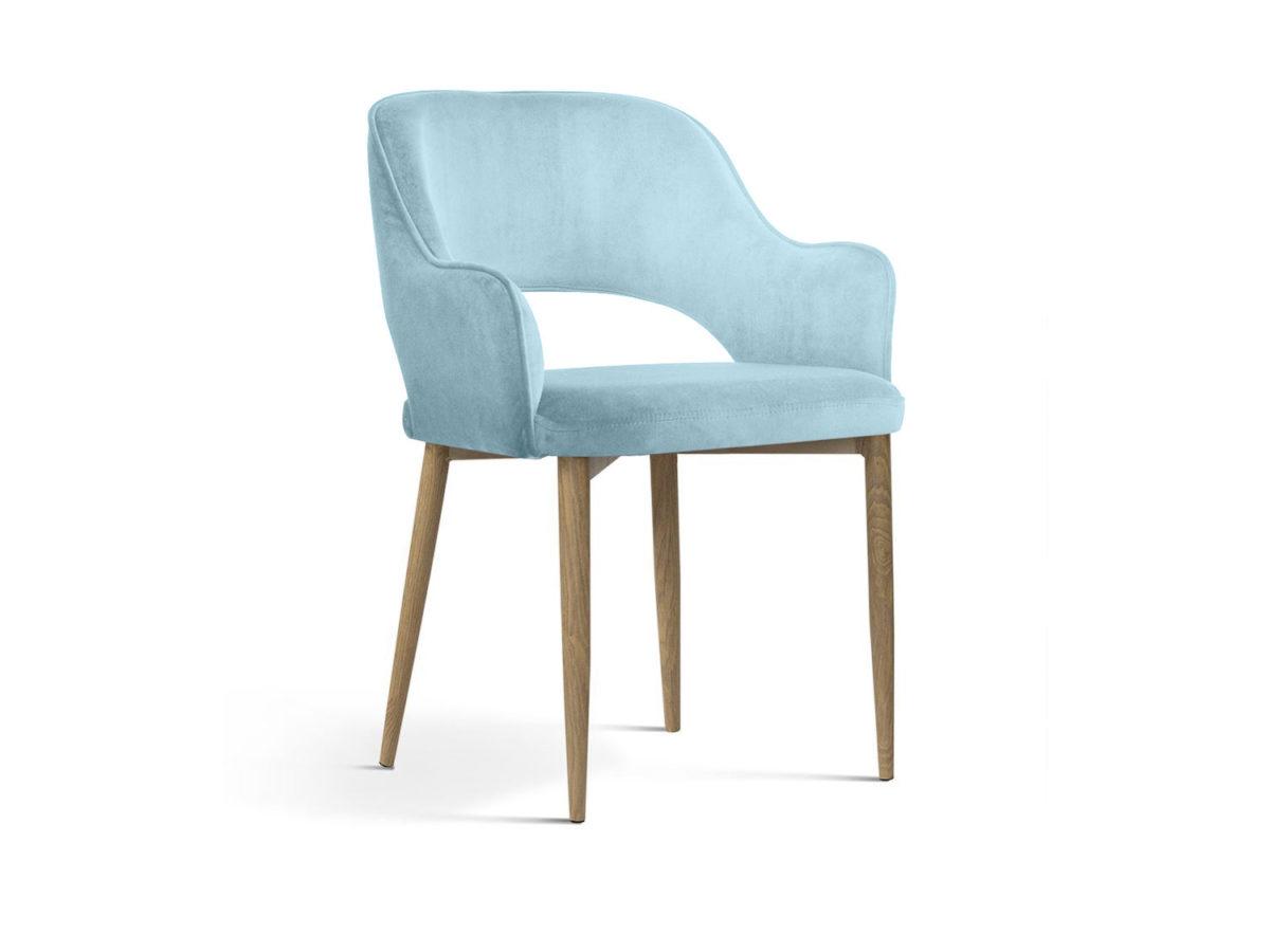 Nowoczesne krzesło tapicerowane Isabell błękitne. Stelaż metalowy w kolorze dębu. Krzesło pasuje do kuchni i jadalni w stylu nowoczesnym.