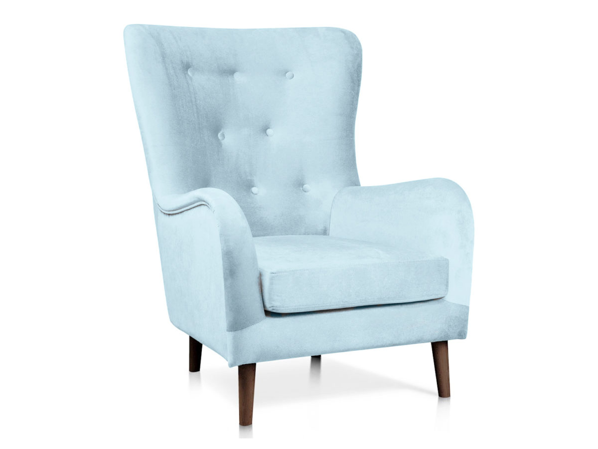 Wygodny fotel tapicerowany Mozart. Wyglądem przypomina modny fotel uszak. Tkanina widoczna na tym modelu to welur pikowany - Fargotex Piano 11. Fotele tapicerowane Białystok.