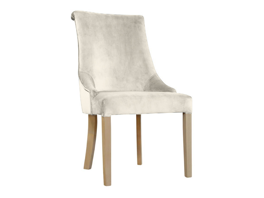 Krzesło welurowe Feme na drewnianych nogach. Nowoczesne krzesła tapicerowane do jadalni są dostępne na zamówienie w showroomie Pasadena home & deco.