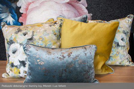 Usługa szycia poduszek dekoracyjnych na wymiar tkanina Icy, Monet i Lux Velvet 1