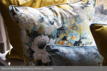 Usługa szycia poduszek dekoracyjnych na wymiar tkanina Icy, Monet i Lux Velvet 2