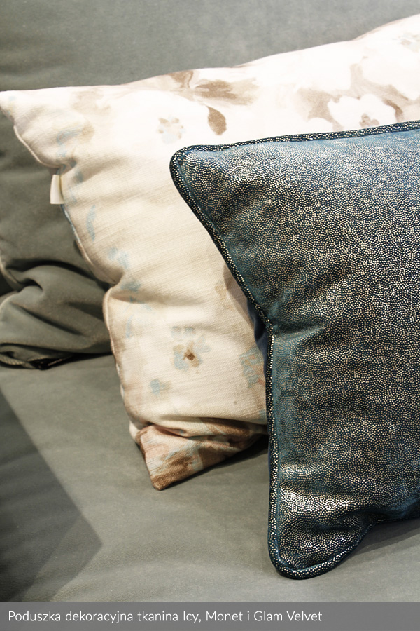 Usługa szycia poduszek dekoracyjnych na wymiar tkanina Rime, Monet i Glam Velvet 2
