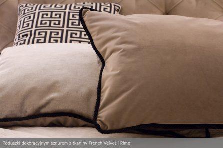 Usługa szycia poduszek dekoracyjnych na wymiar tkanina French Velvet i Rime dekoracyjnym sznurem 1