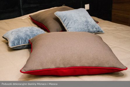 Usługa szycia poduszek dekoracyjnych na wymiar tkanina Monaco i Massca 2