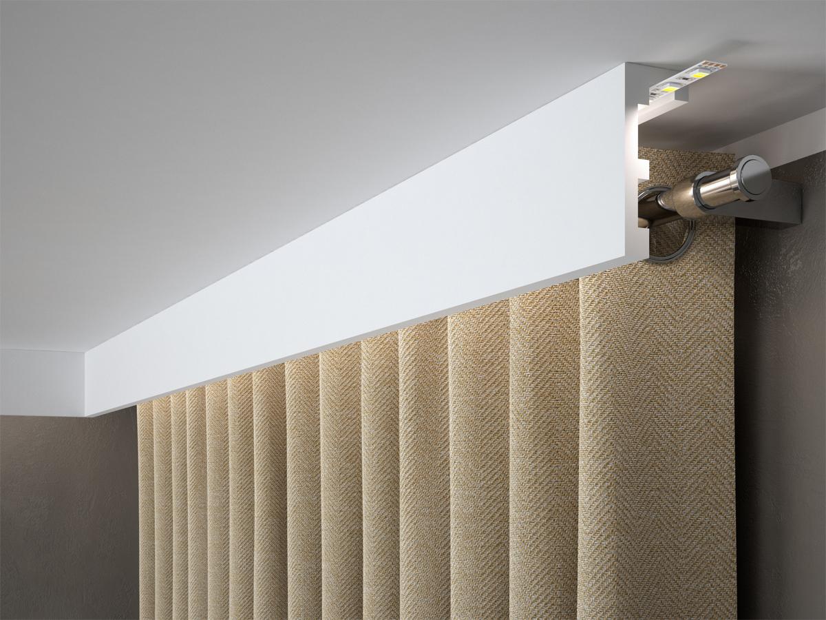 Listwa karniszowa, osłona karnisza maskownica QL026. Sztukateria do salonu idealna do zasłonięcia szyny sufitowej lub karniszy.
