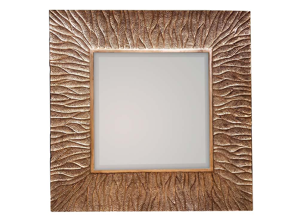 Kwadratowe lustro dekoracyjne do salonu lub sypialni w stylu nowoczesnym.Rama została wykonana z masy żywicznej; wzór przypomina oceaniczne fale.