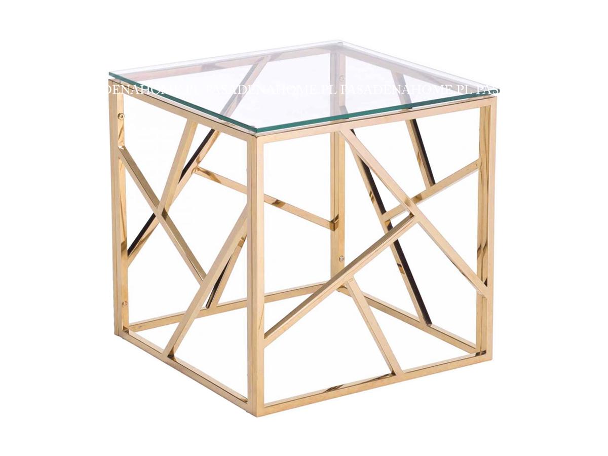 Nowoczesny stolik kawowy ze szklanym blatem i metalowym stelażem. Ława kawowa pasuje do wnętrz w stylu nowoczesnym i nowojorskim.