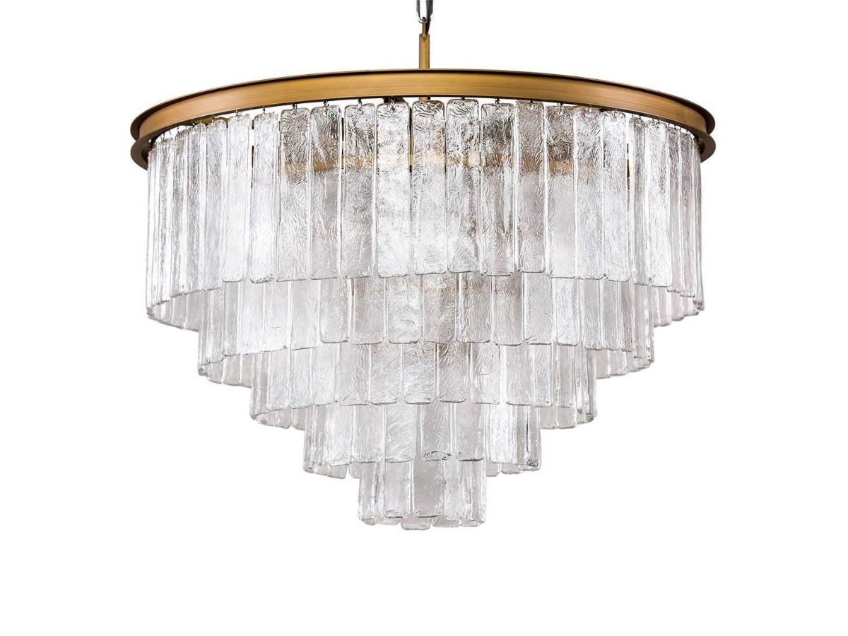 Żyrandol kryształowy Serena to idealne oświetlenie sufitowe do salonu, holu, restauracji, hotelu. Złota lampa sufitowa z kryształkami na zamówienie.
