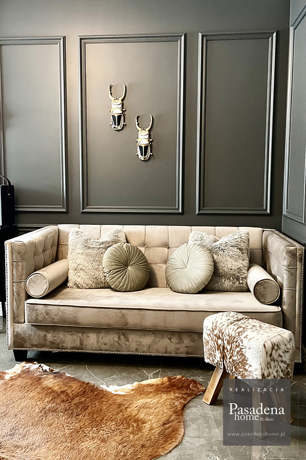 Sofa z funkcja spania Rockford tapicerowana welurem French Velvet