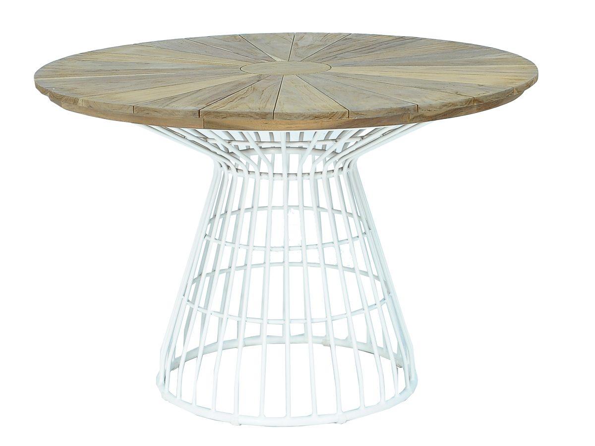 Stół ogrodowy Luke wykonany z aluminium i drzewa tekowego.Stół do ogrodu i na taras pasuje do innych mebli z kolekcji Luke.