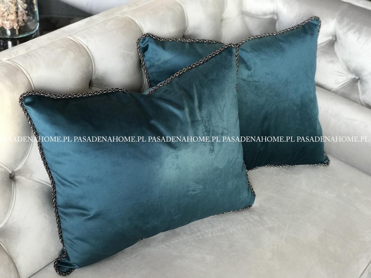 Poduszka dekoracyjna ze sznurem. Turkusowa poduszka z wypełnieniem z kulki silikonowej. Ozdobne poduszki na zamówienie.