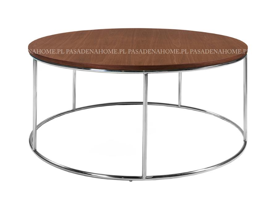 Okrągły stolik kawowy Santos Ø100 cm z metalowym stelażem. Ława kawowa pasuje do wnętrz w stylu nowoczesnym.