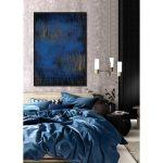 Obraz na płótnie z ramą typu american box o wymiarach 62x92 cm Niebieska Abstrakcja. Obraz pasuje do salonu i sypialni w stylu nowoczesnym.