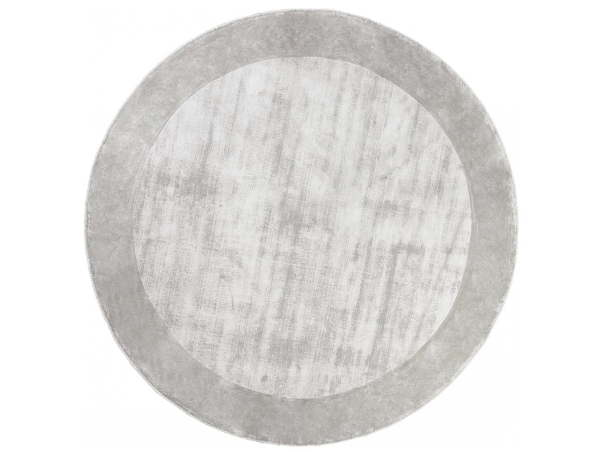 Dywan z wiskozy ręcznie tkany Tere Light Gray okrągły. Włókna wiskozy subtelnie połyskują, dzięki czemu dywan wygląda ekskluzywnie.