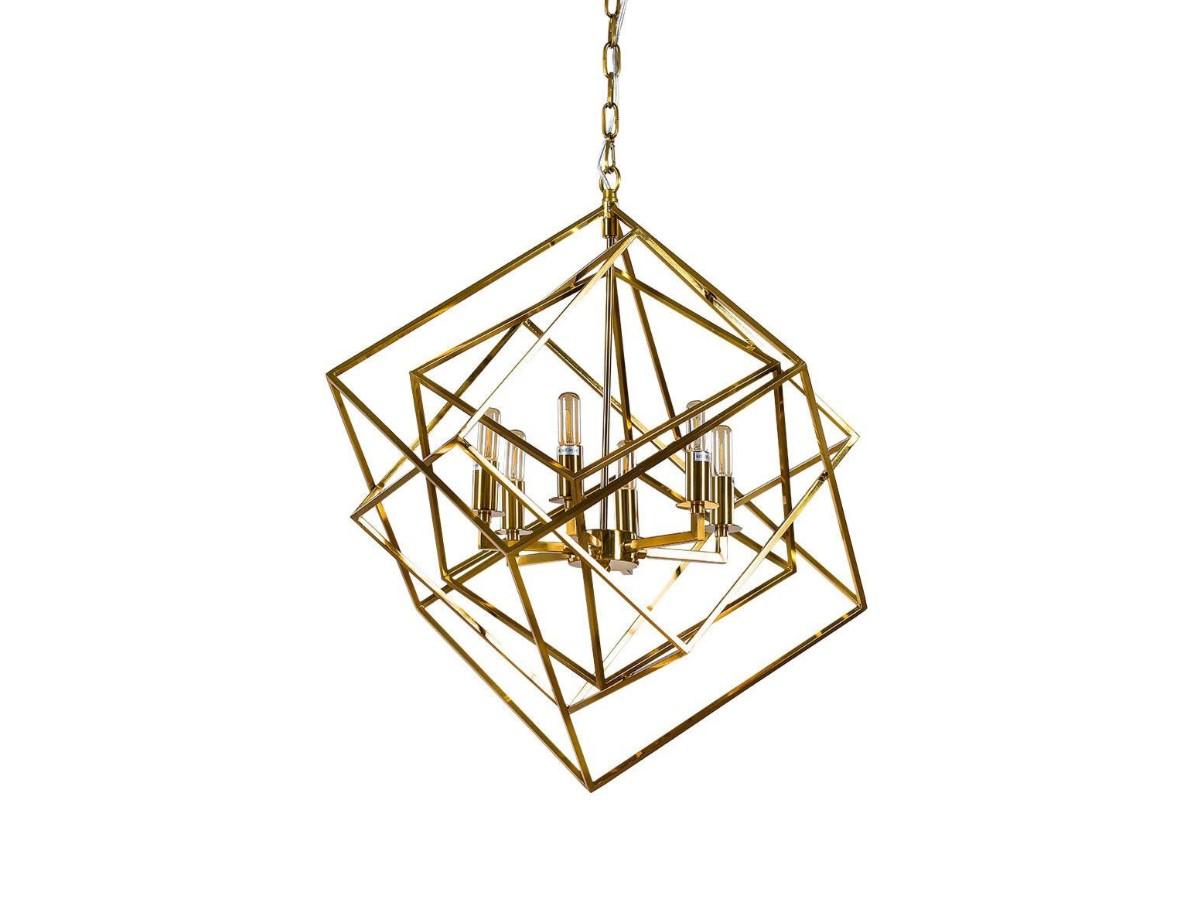 Lampa geometryczna Cube to idealne oświetlenie sufitowe do salonu, holu, restauracji, hotelu. Złota lampa sufitowa na zamówienie.