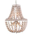 Żyrandol z koralikami Vintage pasuje do salonu lub przedpokoju w stylu rustykalnym oraz vintage. Lampa z koralików na zamówienie.