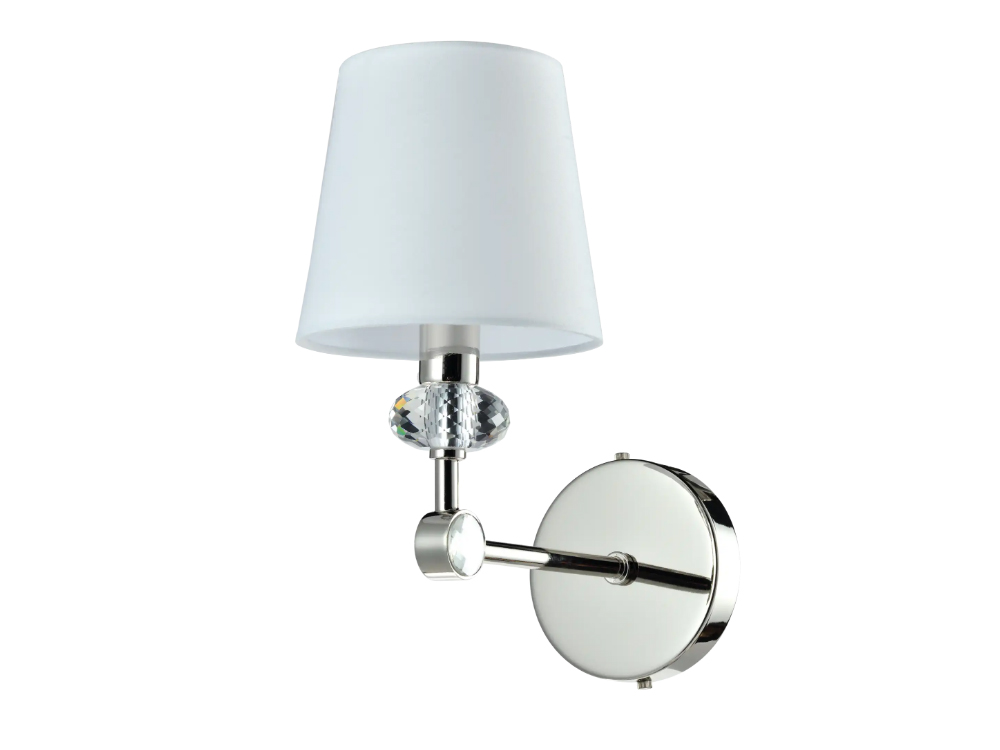 Kinkiet z białym abażurem Serafino. Kinkiet z kryształkami do salonu, przedpokoju i sypialni w stylu nowojorskim. Do zestawienia z lampą wiszącą.