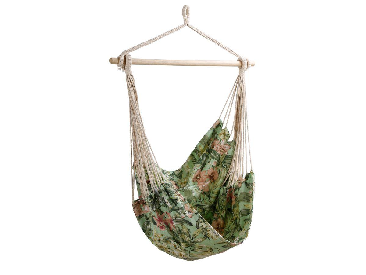 Hamak ogrodowy Floral został wykonany z wytrzymałej tkaniny z kwiatowym wzorem.Hamak do ogrodu i na taras z pewnością zapewni długie chwile relaksu.