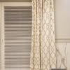 Zasłony na karniszu drążkowym w łazience, tkanina z geometrycznym wzorem Romeo 42910112 szyte na flexach podwójnych z marszczeniem 200%.