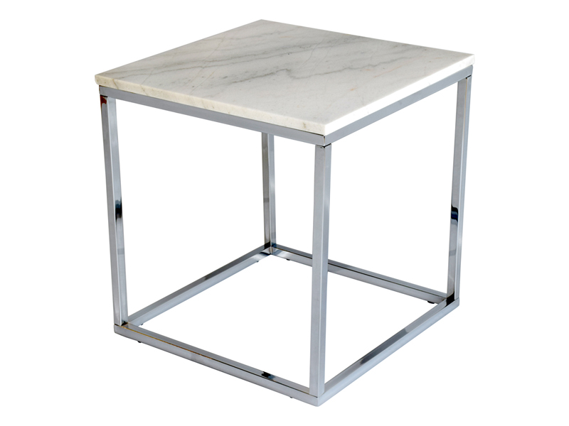 Stolik kawowy kwadratowy Marble 50 cm biały. Stolik pasuje do wnętrz w stylu nowojorskim i glamour. Polecamy także okrągłe stoliki kawowe.