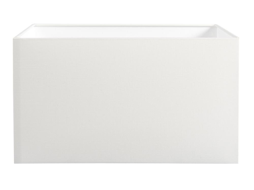 Abażur biały z tkaniny do lampy stołowej, stojącej w stylu nowojorskim.