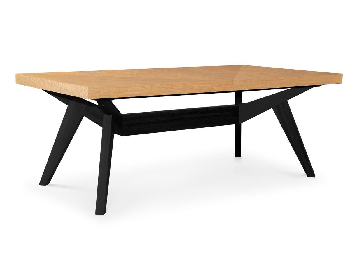 Stół drewniany rozkładany Ikar. Stół dębowy z czarnymi nogami pasuje do nowoczesnej kuchni i jadalni. Do wyboru rozmiar i kolor nóg.