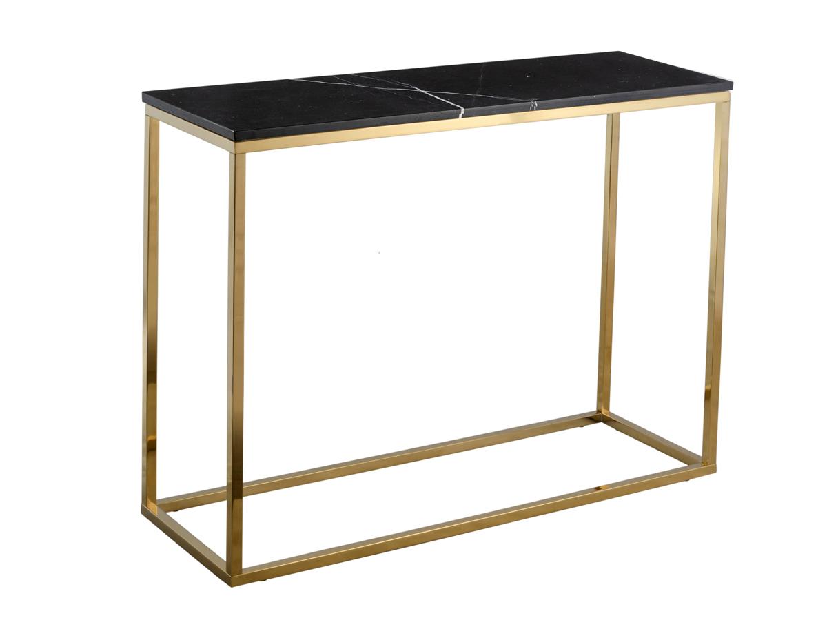 Konsola czarna Marble wykonana z marmuru i metalu. Konsola przyścienna do przedpokoju i salonu w stylu nowojorskim i nowoczesnym.