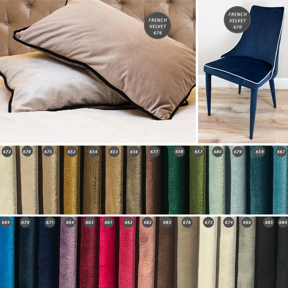Tkanina obiciowa welur plusz French Velvet to jedwabiście miękki materiał tapicerski o subtelnym połysku. Odporna na zalania i zabrudzenia.