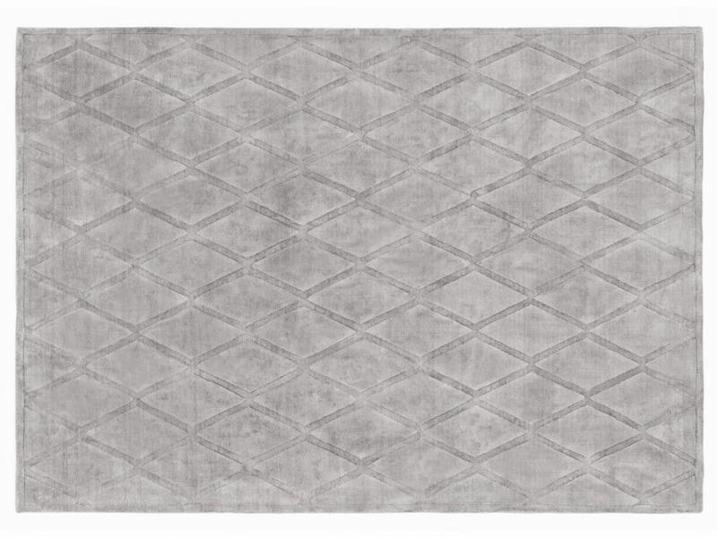 Dywan Z Wiskozy Ręcznie Tkany Geometryczny Gabia Light Gray